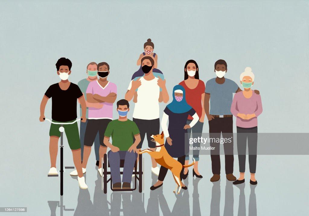 Portrait diverse community in face masks : ストックイラストレーション