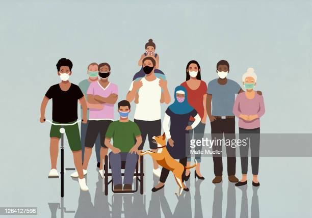 portrait diverse community in face masks - diversity stock illustrations