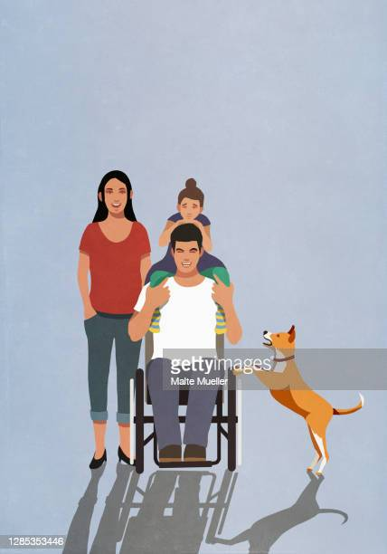 portrait happy man in wheelchair with family and dog - family stock illustrations