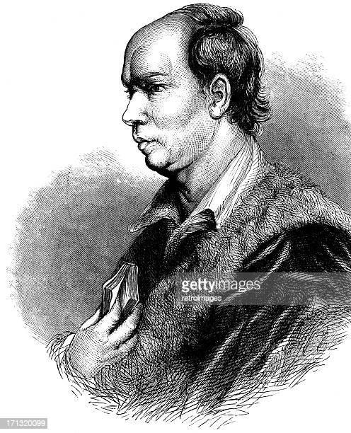 Portrait of 18th Century writer and poet Oliver Goldsmith (illustration)