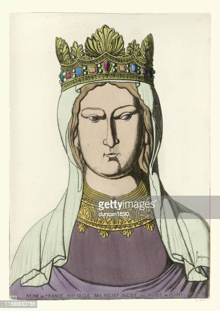 portrait of a 12th century queen of france, medieval - medieval queen crown stock illustrations