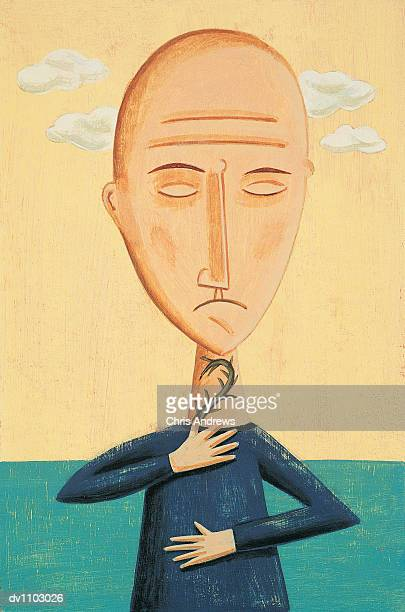 portrait of a bald man with a sore throat - balding stock illustrations