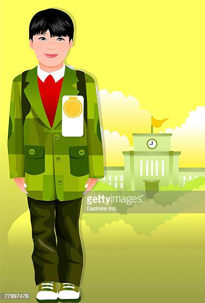 portrait of a boy standing - school uniform stock illustrations, clip art, cartoons, & icons