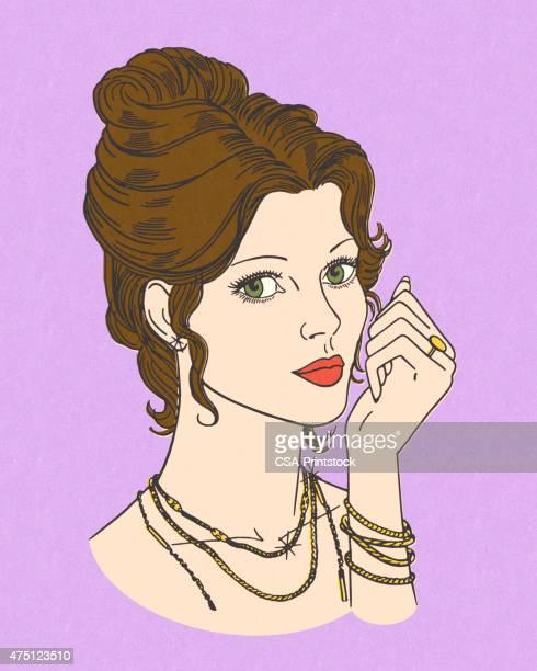 portrait of a brunette woman - hair bun stock illustrations, clip art, cartoons, & icons