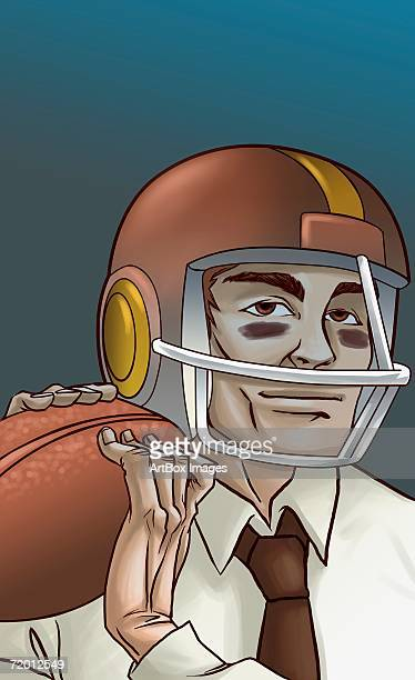 portrait of a businessman holding a football and wearing a helmet - safety american football player stock illustrations, clip art, cartoons, & icons