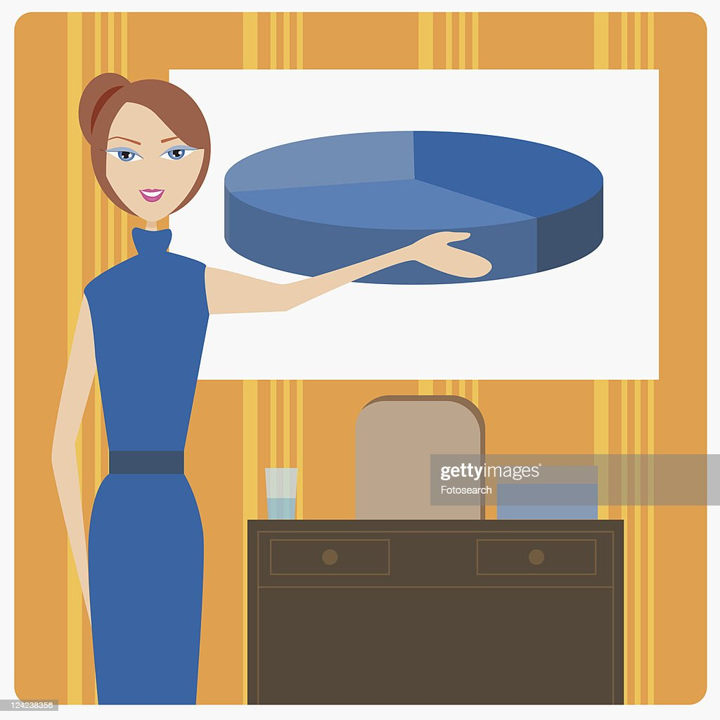 Portrait of a businesswoman pointing to a pie chart : stock illustration