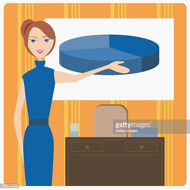 portrait of a businesswoman pointing to a pie chart - updo stock illustrations, clip art, cartoons, & icons