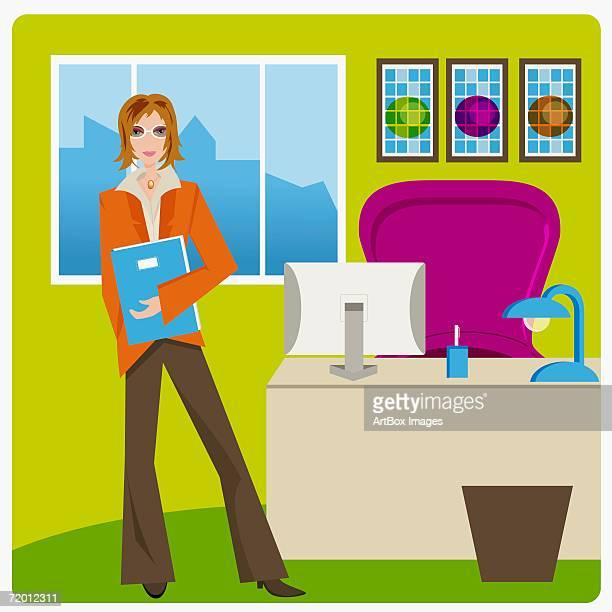 portrait of a businesswoman standing and holding a file in an office - desk organizer stock illustrations, clip art, cartoons, & icons