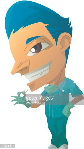 portrait of a dentist - occupational health stock illustrations, clip art, cartoons, & icons