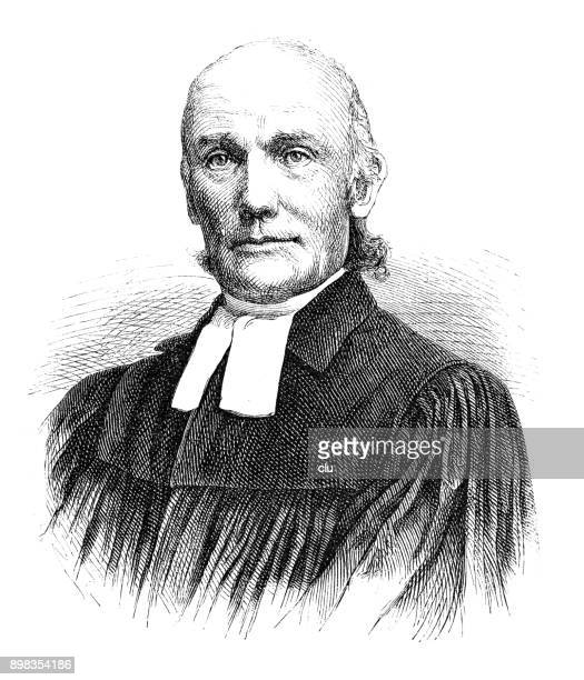 portrait of a german protestant pastor: gustav knak - protestantism stock illustrations
