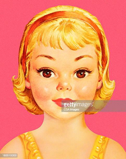 portrait of a girl - one girl only stock illustrations, clip art, cartoons, & icons