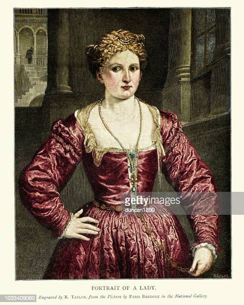 portrait of a lady, paris bordone, 16th century - classical stock illustrations