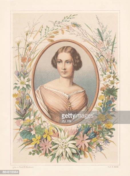 Portrait of a lady with flower frame, lithograph, published 1886