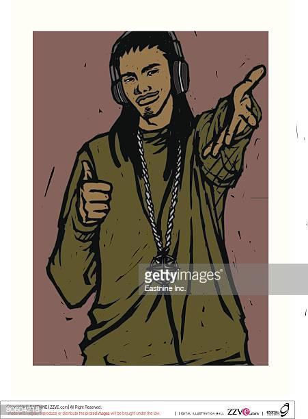 portrait of a male disc jockey dancing - bling bling stock illustrations, clip art, cartoons, & icons