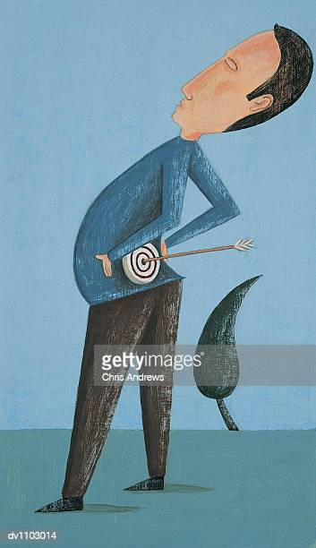 portrait of a man bending backwards with backache - human back stock illustrations, clip art, cartoons, & icons