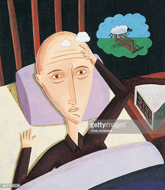 Portrait of a Man in Bed Counting Sheep