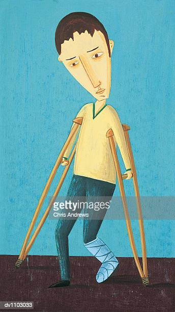portrait of a man in crutches with a cast over his broken leg - standing on one leg stock illustrations, clip art, cartoons, & icons