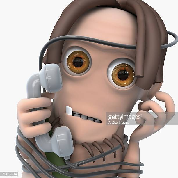 portrait of a man tied up with a phone cord and holding a telephone receiver - phone cord stock illustrations, clip art, cartoons, & icons