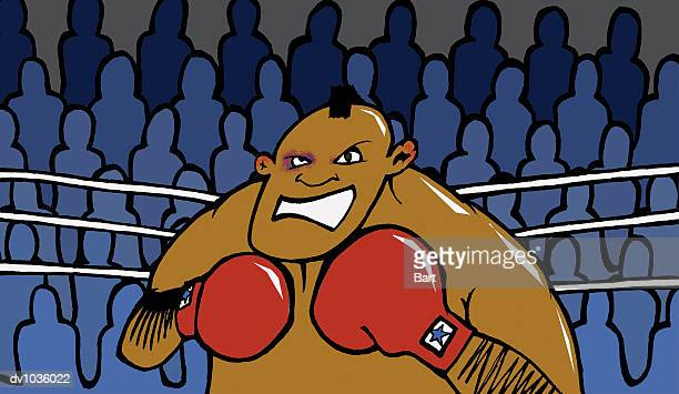 portrait of a man with a mohican in a boxing ring - fighting stance stock illustrations, clip art, cartoons, & icons