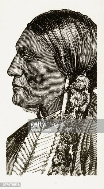 portrait of a native american indian engraving, 1887 - apache culture stock illustrations, clip art, cartoons, & icons