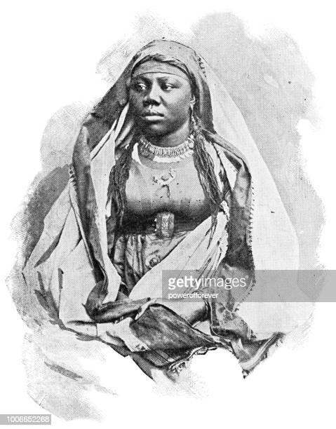 portrait of a nubian woman in aswan, egypt - ottoman empire - nubia stock illustrations, clip art, cartoons, & icons