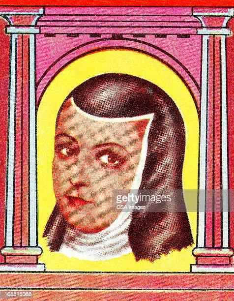 portrait of a nun - religious dress stock illustrations, clip art, cartoons, & icons