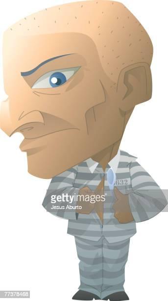 ilustraciones, imágenes clip art, dibujos animados e iconos de stock de portrait of a prisoner - stealth