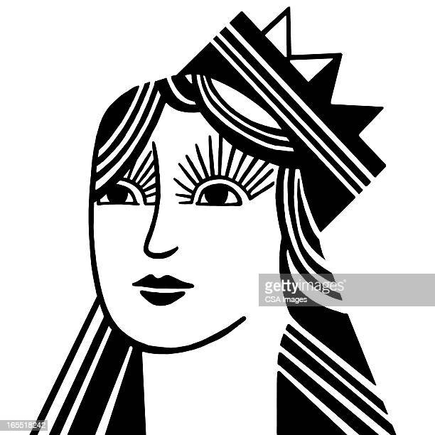 portrait of a queen - queen royal person stock illustrations, clip art, cartoons, & icons