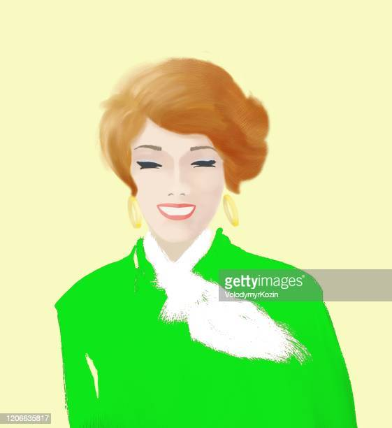 illustrations, cliparts, dessins animés et icônes de verticale d'une fille rousse avec un large sourire - femme bcbg