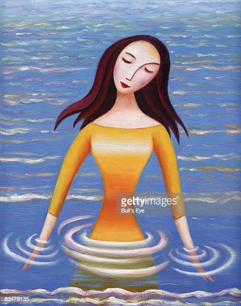portrait of a serene woman standing in water - eyes closed stock illustrations, clip art, cartoons, & icons