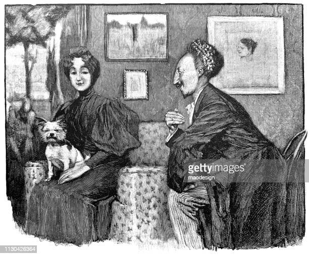 Portrait of a sitting woman with a dog. Man looks at the woman - 1896