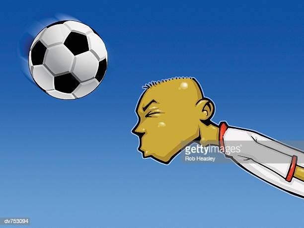 portrait of a teenage boy heading a football - heading the ball stock illustrations