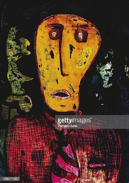 A portrait of a tormented businessman
