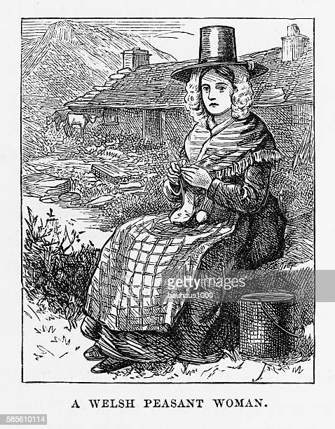 Portrait of a Welsh Peasant Woman Victorian Engraving, Circa 1840