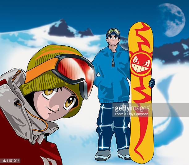 portrait of a woman in a woollen hat standing in front of a man holding a snowboard - ski goggles stock illustrations, clip art, cartoons, & icons