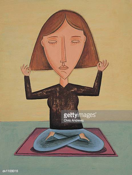 portrait of a woman sitting in the lotus position meditating - one mid adult woman only stock illustrations