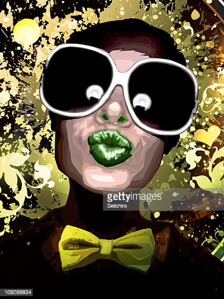 A portrait of a woman wearing a bow tie and large sunglasses