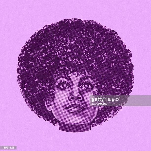 portrait of a woman with an afro - afro stock illustrations