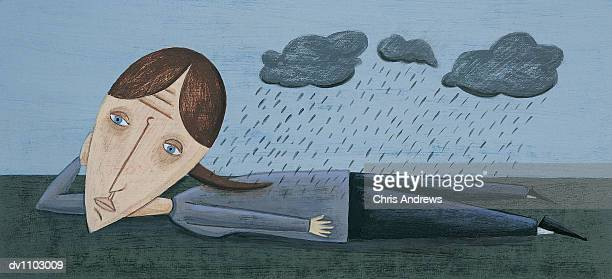 ilustraciones, imágenes clip art, dibujos animados e iconos de stock de portrait of a woman with depression and clouds raining above her - adulto de mediana edad