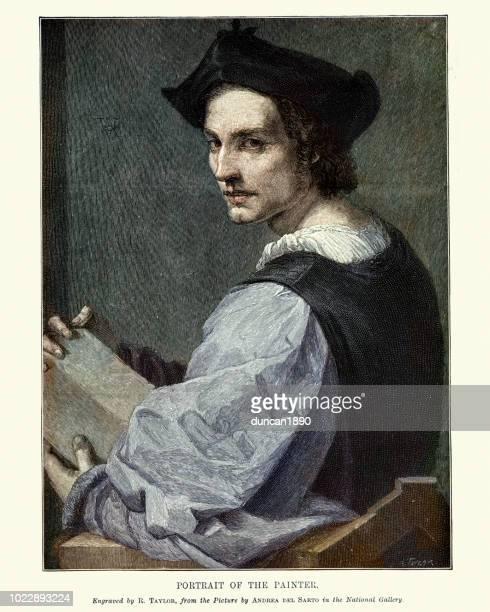 portrait of a young man, andrea del sarto, 16th century - fine art portrait stock illustrations, clip art, cartoons, & icons