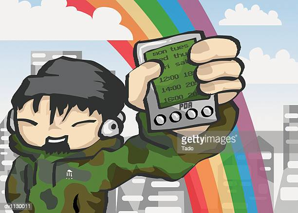 portrait of a young man showing his handheld pc in the city - only japanese stock illustrations, clip art, cartoons, & icons