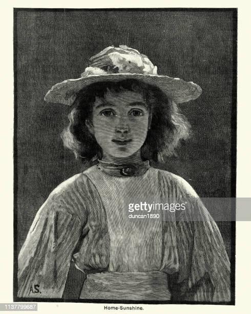 ビクトリア朝の少女の肖像19世紀 - 1890~1899年点のイラスト素材/クリップアート素材/マンガ素材/アイコン素材