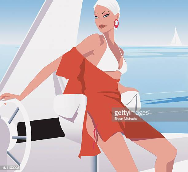 portrait of a young woman at the helm of a yacht - updo stock illustrations, clip art, cartoons, & icons
