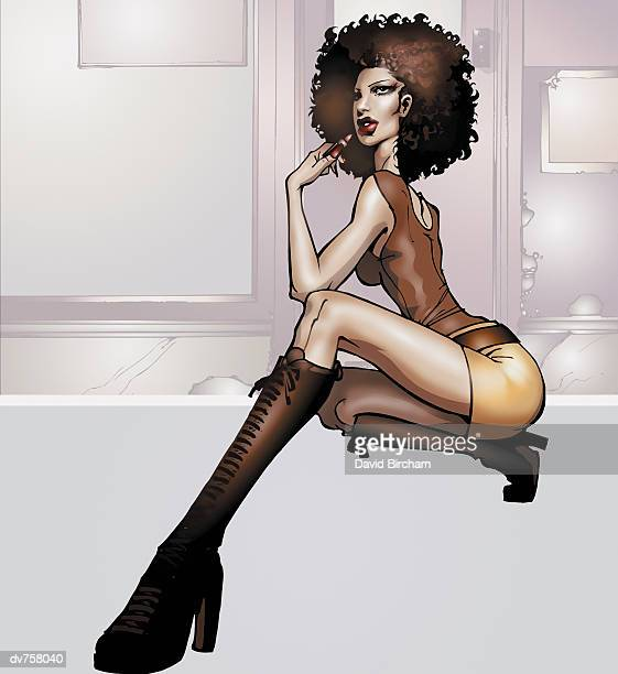 stockillustraties, clipart, cartoons en iconen met portrait of a young woman crouching wearing knee high boots - clubkleding