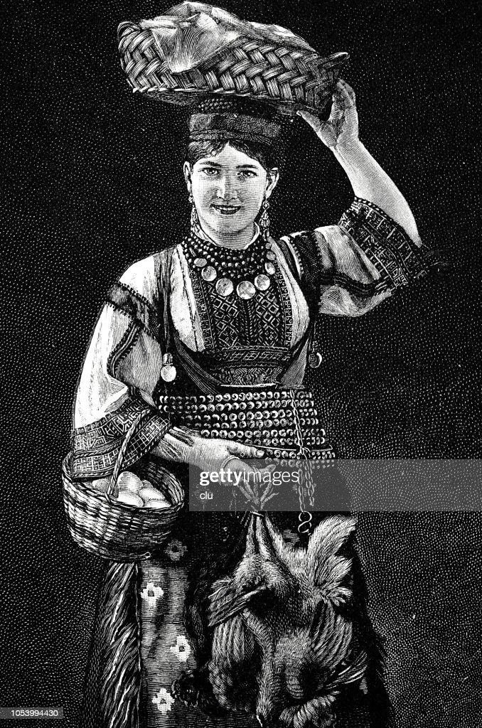 Portrait of a young woman from Croatia, dalmatia region : stock illustration