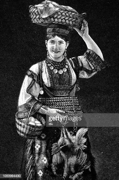 portrait of a young woman from croatia, dalmatia region - croatia stock illustrations, clip art, cartoons, & icons