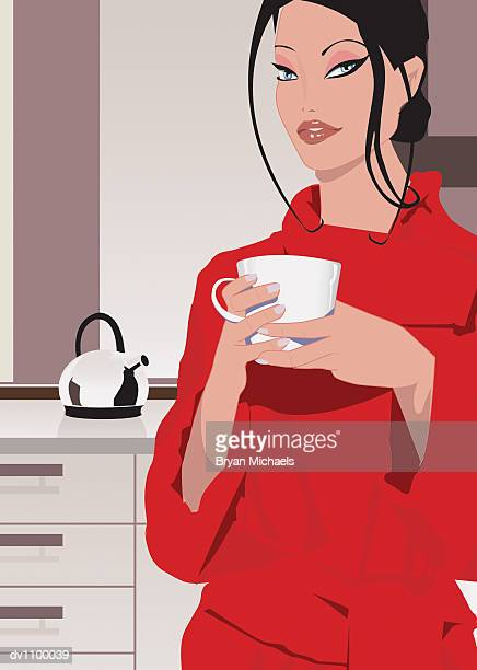 portrait of a young woman holding a cup of coffee in her kitchen - updo stock illustrations, clip art, cartoons, & icons