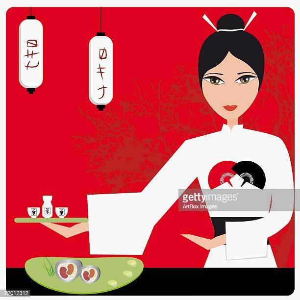 portrait of a young woman holding tea cups on a serving tray at tea ceremony - updo stock illustrations, clip art, cartoons, & icons