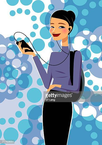 portrait of a young woman listening to an mp3 player - updo stock illustrations, clip art, cartoons, & icons