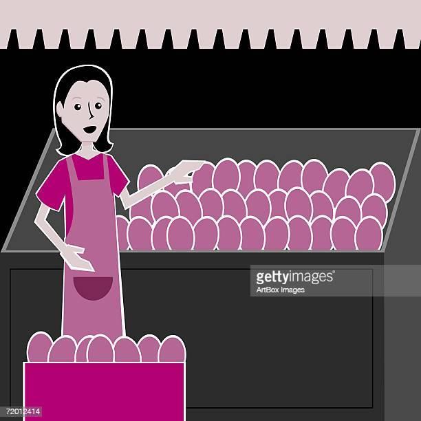ilustraciones, imágenes clip art, dibujos animados e iconos de stock de portrait of a young woman selling fruit in a market stall - puesto de mercado